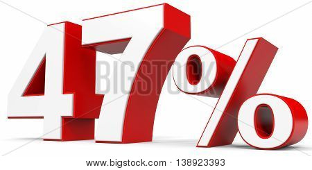 Discount 47 percent off on white background. 3D illustration.