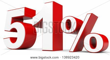 Discount 51 percent off on white background. 3D illustration.