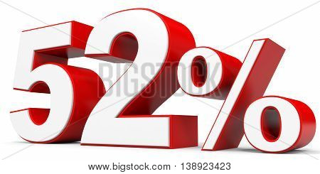 Discount 52 percent off on white background. 3D illustration.