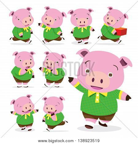 Vector of Cute pig boy various actions collection set
