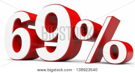 Discount 69 percent off on white background. 3D illustration.