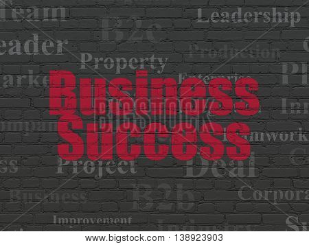Finance concept: Painted red text Business Success on Black Brick wall background with  Tag Cloud