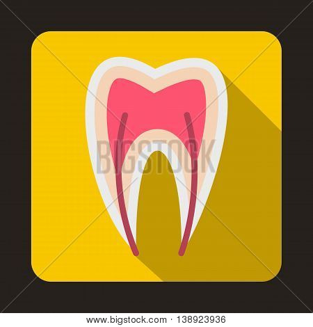 Tooth cross section icon in flat style on a yellow background