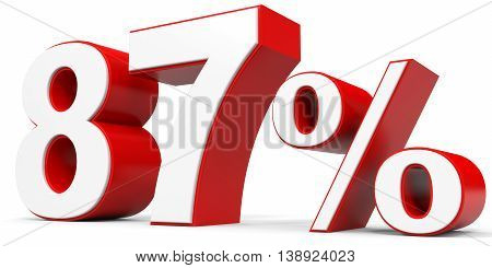 Discount 87 percent off on white background. 3D illustration.