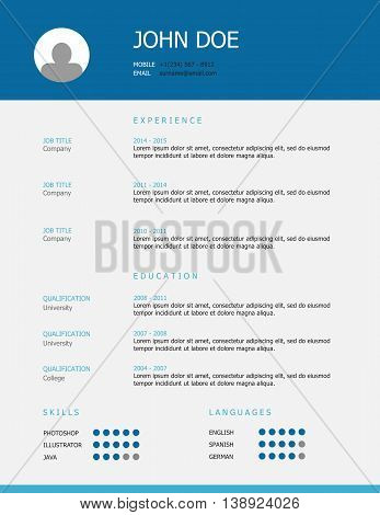 Professional simple styled resume template design with blue and teal headings.