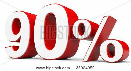 Discount 90 percent off on white background. 3D illustration.