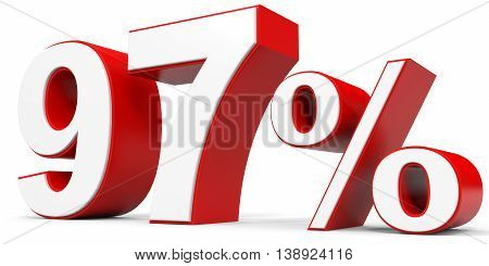 Discount 97 percent off on white background. 3D illustration.