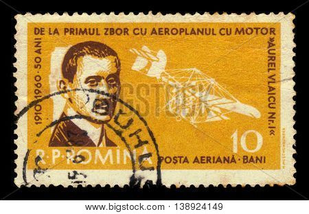 ROMANIA - CIRCA 1960: A stamp printed in Romania shows portrait of Aurel Vlaicu, romanian engineer, inventor, airplane constructor, early pilot and Vlaicu I airplane, circa 1960
