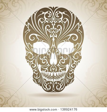 Vintage ornamental skull. Decorative icon on a background with pattern