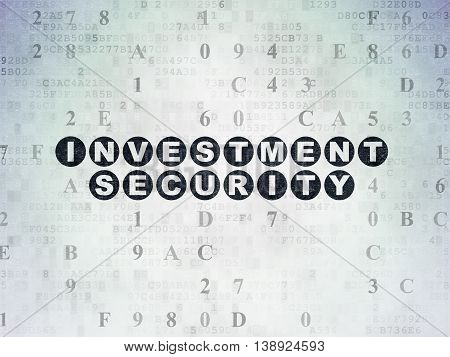 Privacy concept: Painted black text Investment Security on Digital Data Paper background with Hexadecimal Code