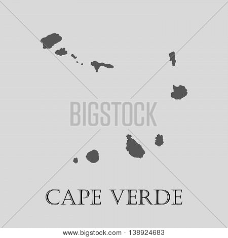 Gray Cape Verde map on light grey background. Gray Cape Verde map - vector illustration.
