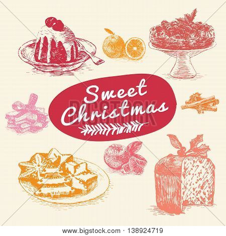 Vector colorful illustration of Christmas desserts and fruit. Christmas different desserts on beige background