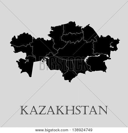 Black Kazakhstan map on light grey background. Black Kazakhstan map - vector illustration.