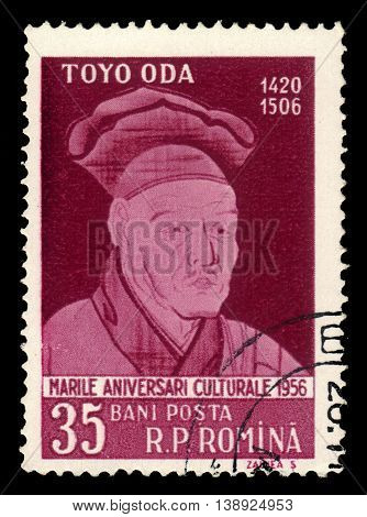 ROMANIA - CIRCA 1956: A stamp printed in Romania shows portrait of Toyo Oda (1420-1506) japanese painter, circa 1956