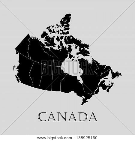 Black Canada map on light grey background. Black Canada map - vector illustration.