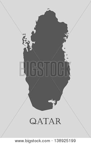 Gray Qatar map on light grey background. Gray Qatar map - vector illustration.
