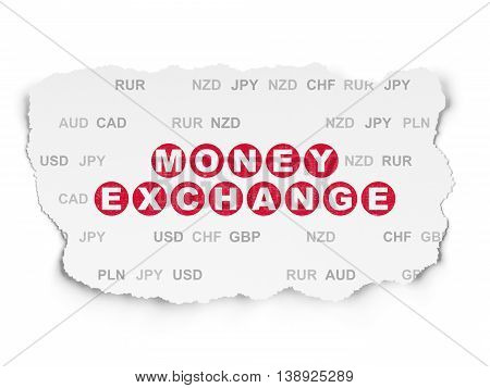 Money concept: Painted red text Money Exchange on Torn Paper background with  Currency