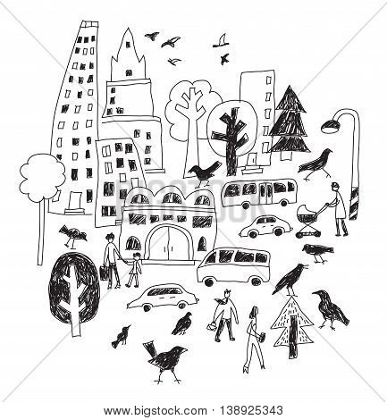 Doodles urban city life birds street isolate black and white objects. Color vector illustration. EPS8