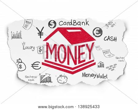 Money concept: Painted red Money Box icon on Torn Paper background with  Hand Drawn Finance Icons