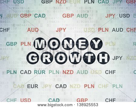 Banking concept: Painted black text Money Growth on Digital Data Paper background with Currency