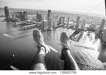 Shoe Selfie over the hudson from a helicopter