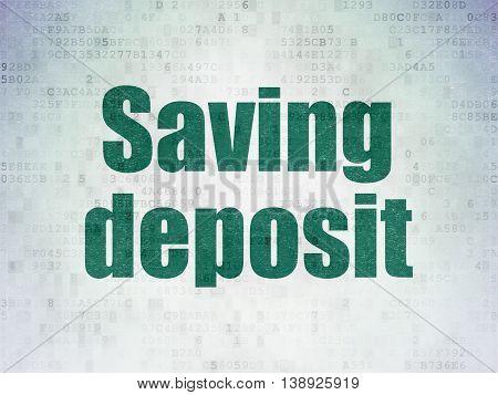Money concept: Painted green word Saving Deposit on Digital Data Paper background