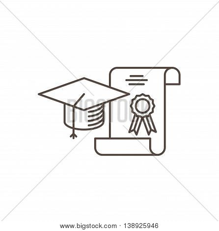 Education concept line Icon. Graduation cap and diploma - vector illustration