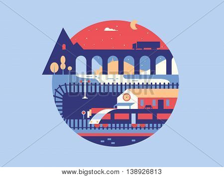 Illustration of the railway. Train travel transportation, vector railroad flat design