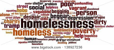 Homelessness word cloud concept. Vector illustration on white
