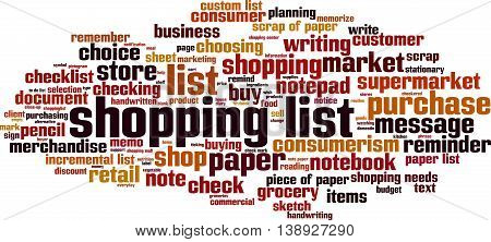 Shopping list word cloud concept. Vector illustration