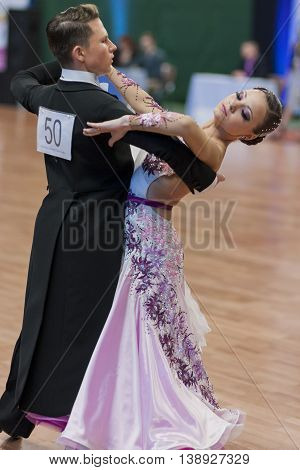 Minsk Belarus -May 28 2016: Nikitin Aleksandr and Novoselova Irina Perform Youth-2 Standard Program on National Championship of the Republic of Belarus in May 28 2016 in Minsk Republic of Belarus
