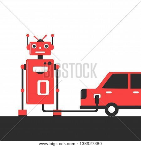 Bowser robot. Refuel car at gas station concept flat style. Gasoline pump. Vector illustration.