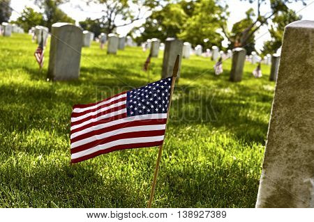 United States Flag On Gravesite