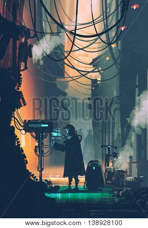 sci-fi scene of robot using futuristic computer in city street, illustration painting
