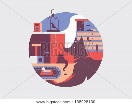 Pets flat illustration. Animal dog cat and fish in bowl vector