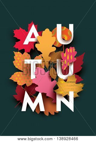 Autumn card with different plant elements on dark background. Colorful illustration for your banner, poster, flyer. Vector illustration.