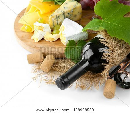 Red wine with grapes and cheese, isolated on white