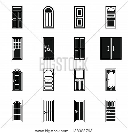 Door icons set in simple style. Exterior set collection isolated vector illustration