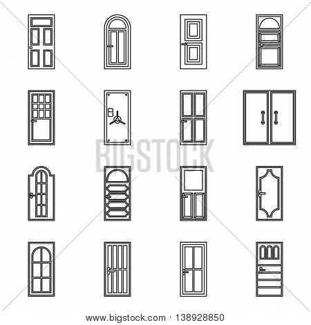 Door icons set in outline style. Exterior set collection isolated vector illustration