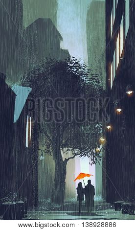 couple with red umbrella walking in raining street at night, illustration painting