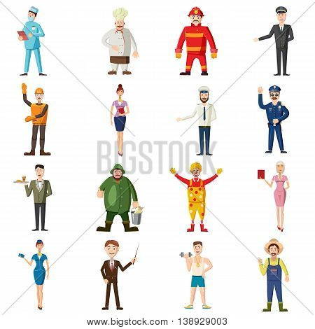 Professions icons set in cartoon style. Worker set collection isolated vector illustration