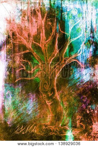 drawing of a spiritual tree with face on abstract background.