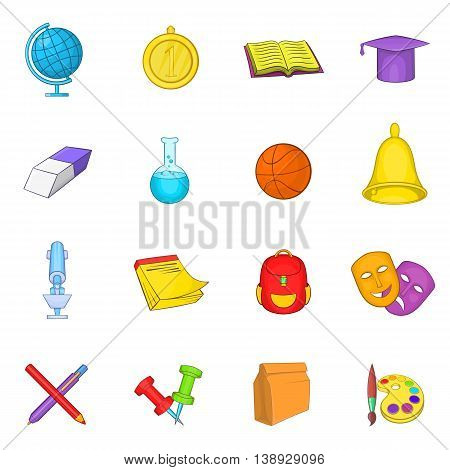 School icons set in cartoon style. Education set collection cartoon style