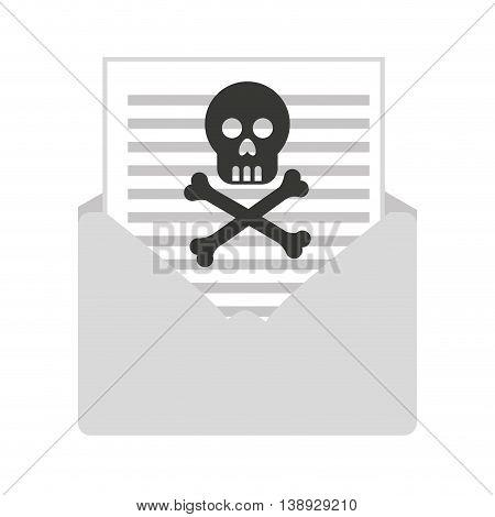 skull bones cross caution icon vector isolated