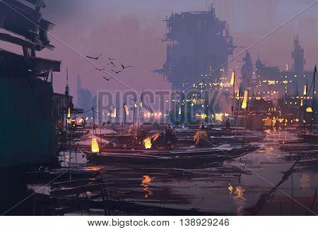 boats in harbor of futuristic city, evening scene, illustration painting