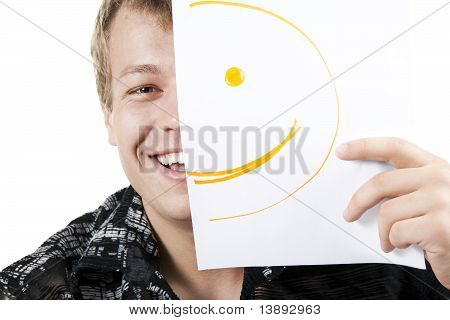 Man With Smiley On Half Of His Face