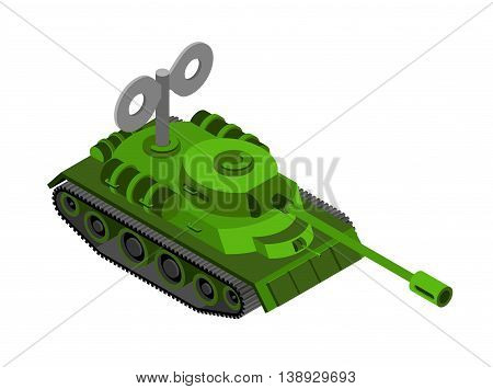 Toy Tank Isometric On White Background. Military Machine Clockwork Plaything