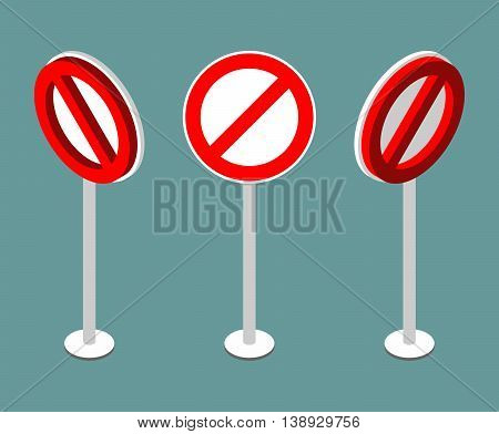 Stop sign isometry. Prohibition road sign. Vector illustration