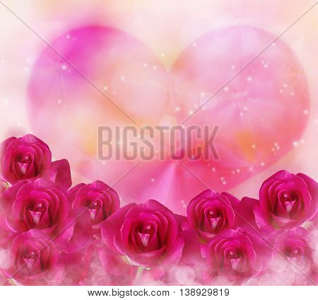 Pink Roses Flowers And Big Pink Heart With Bokeh And Lens Flare