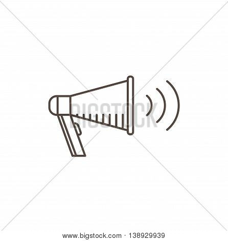 Megaphone Icon - line vector illustration. Isolated bullhorn.